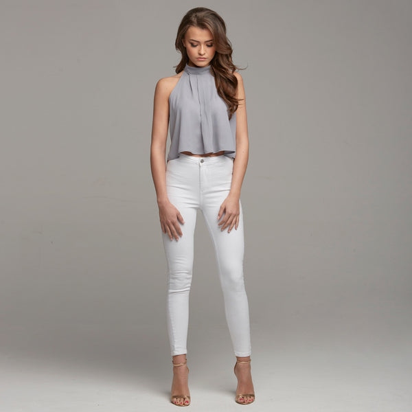 MARIAH GREY HALTER NECK CROP - CT020