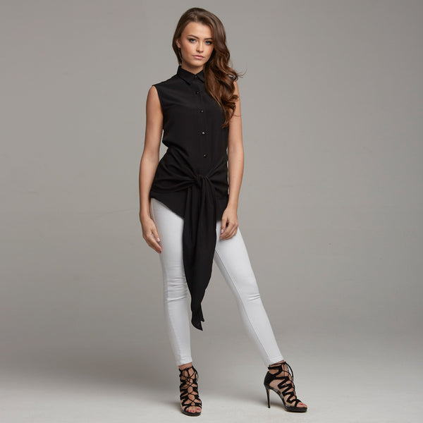 QUINN BLACK TIE FRONT SLEEVELESS SHIRT - CT028