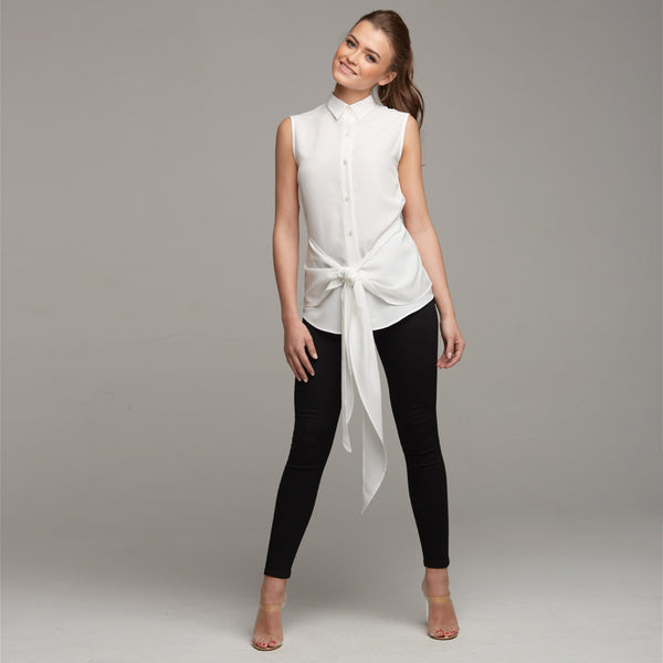 QUINN ECRU TIE FRONT SLEEVELESS SHIRT - CT029