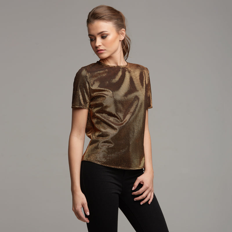 CARA BRONZE METALLIC BOXY TEE - CT067