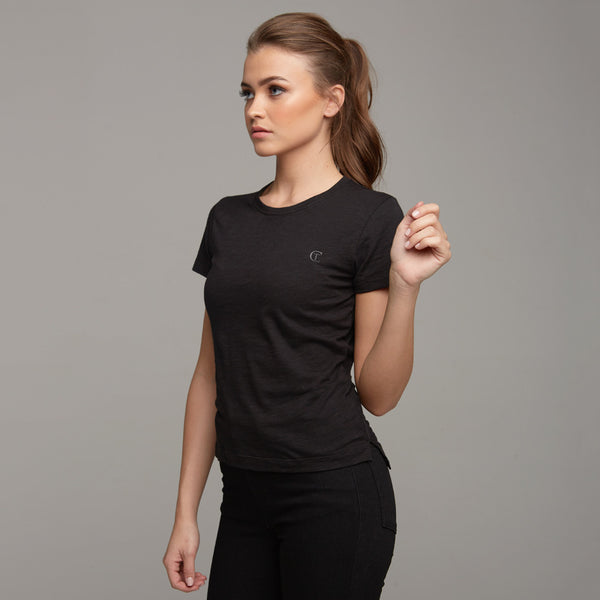 TEGAN BLACK SLUB TEE - CT050