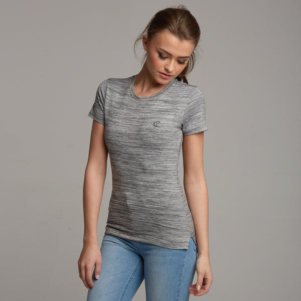 TEGAN GREY MARL SLUB TEE - CT047