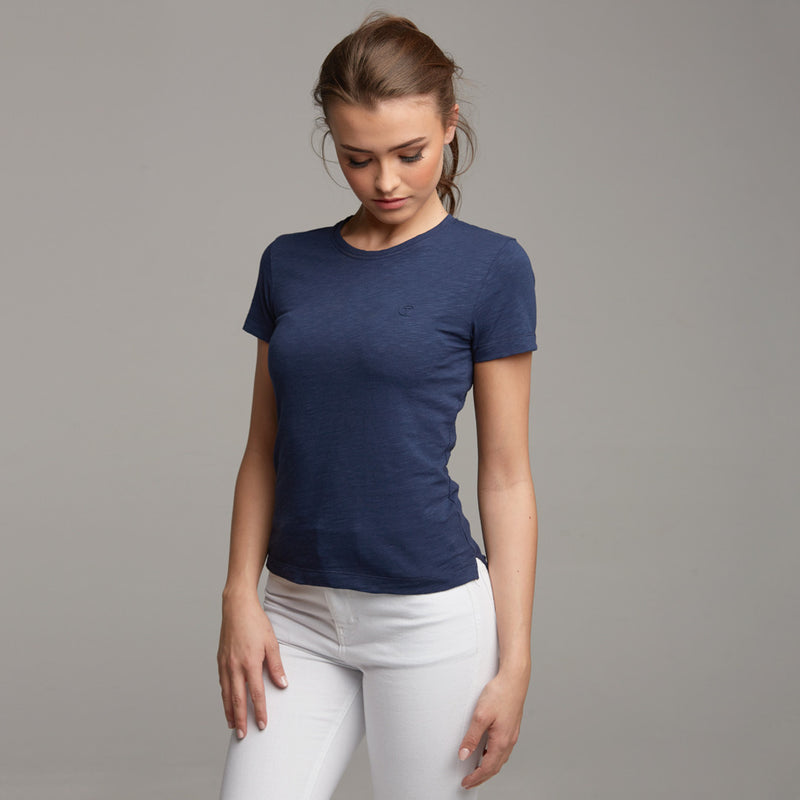 TEGAN NAVY SLUB TEE - CT053