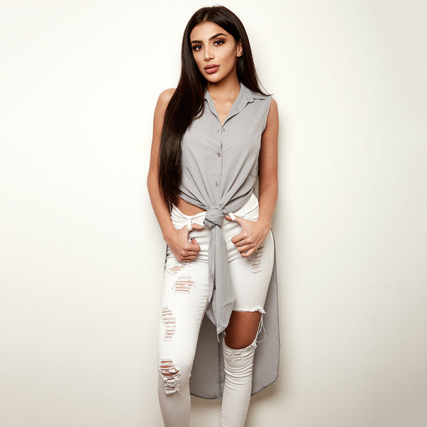 CELINE GREY LONGLINE TUNIC - CT002