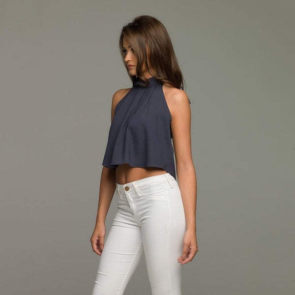 MARIAH SLATE HALTER NECK CROP - CT019