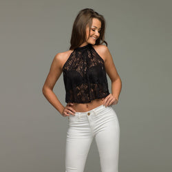 LACEY MAE BLACK LACE HALTER NECK - CT018