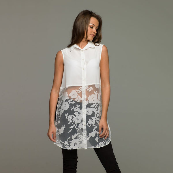LOLA WHITE SPLIT LONGLINE TUNIC - CT013