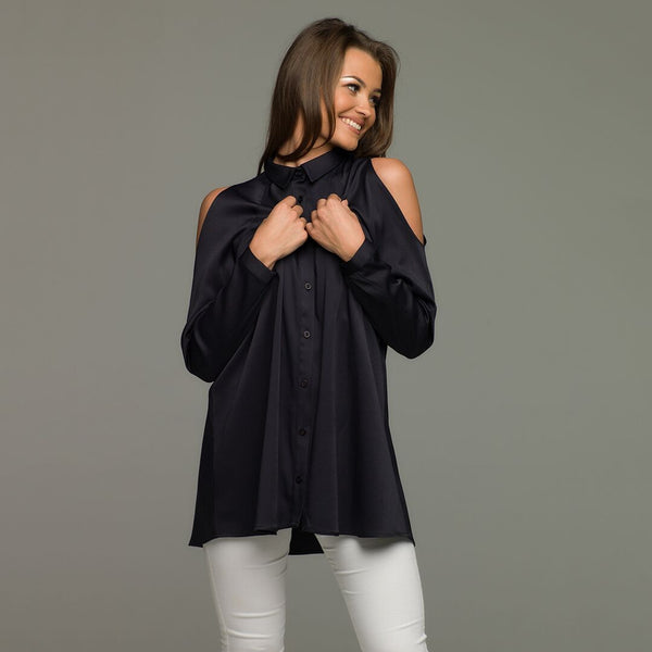 NAVY PEEP COLD SHOULDER - CT005