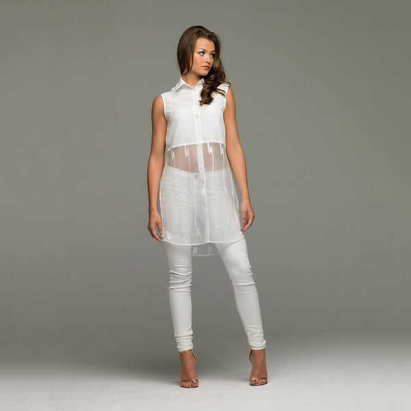 LEXI WHITE SPLIT LONGLINE TUNIC - CT015