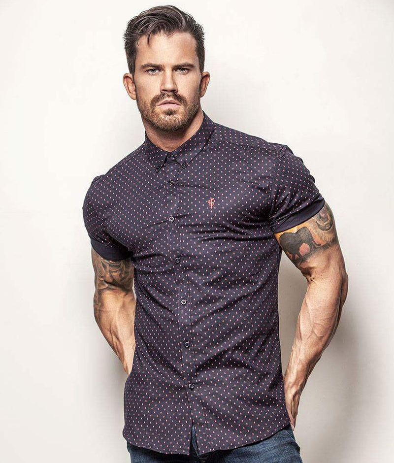 Father Sons Super Slim Stretch Navy & Red Ditsy Print Short Sleeve (Red Embroidery) - FS093R