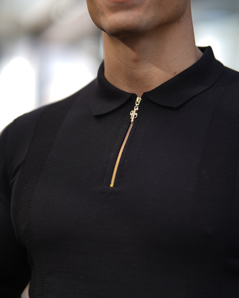 Father Sons Classic Black and Gold Zip Knitted Long Sleeve Polo Shirt - FSH564