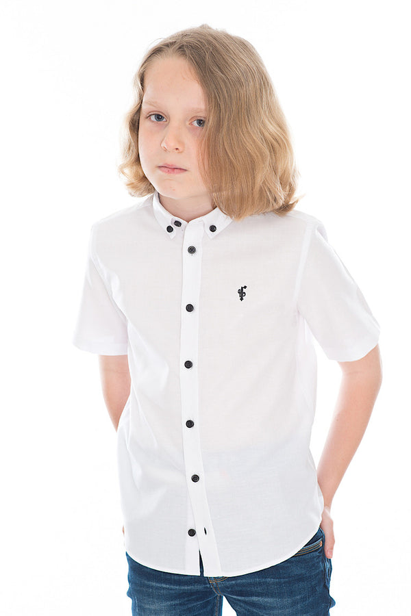 Father Sons Boys Classic White Black Button Short Sleeve - FSB005