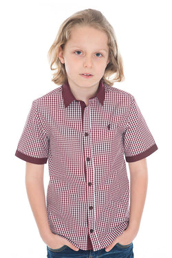 Father Sons Boys Burgundy Check Contrast Short Sleeve - FSB009