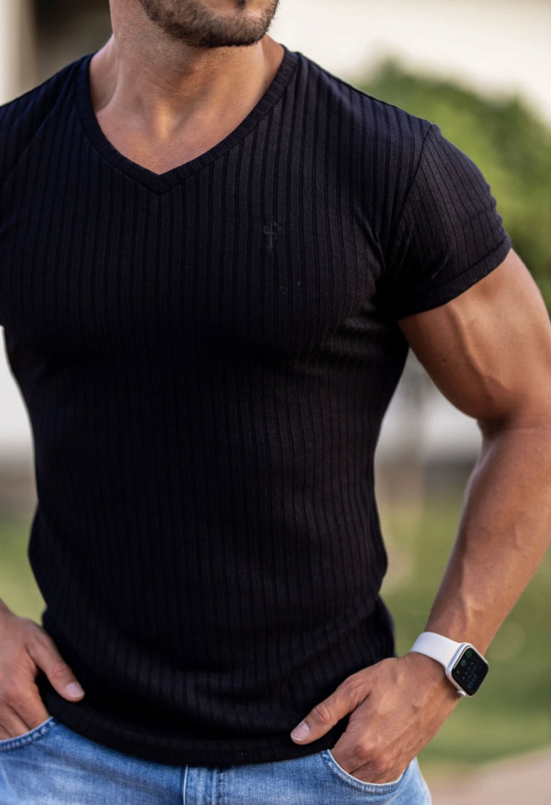 Father Sons Classic Black With Black Emblem Ribbed V Neck -  FSH389