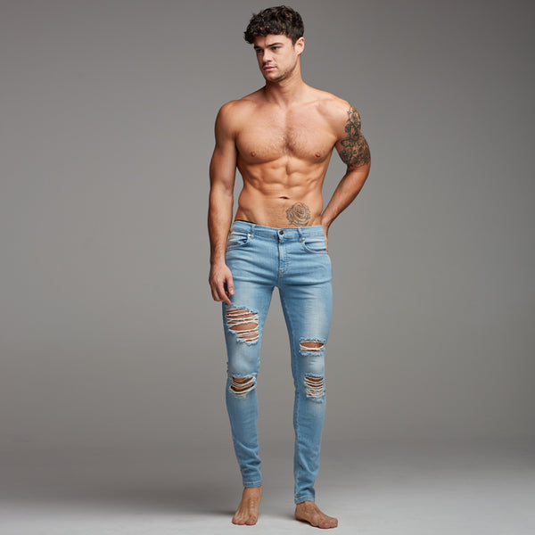 Father Sons Distressed Ripped Slim Stretch Light Blue Jeans - FSH167