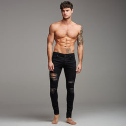 Father Sons Distressed Ripped Slim Stretch Black Jeans - FSH168