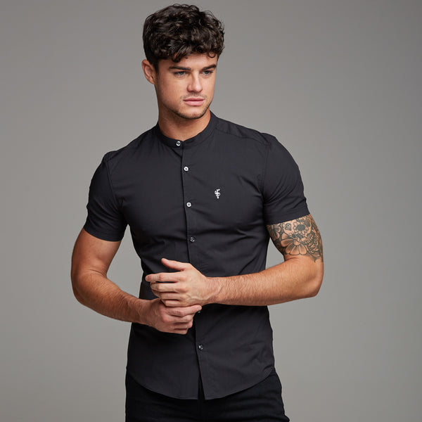 Father Sons Super Slim Stretch Classic Black Grandad Collar Short Sleeve - FS173