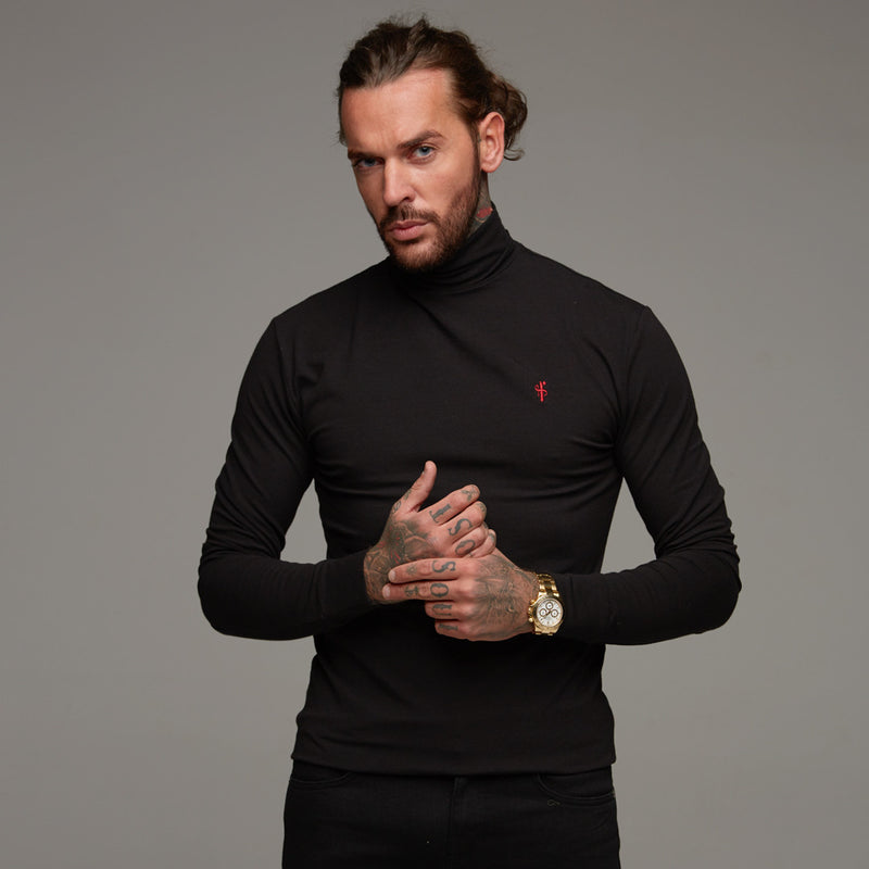 Father Sons Classic Black Stretch Roll Neck (Red Emblem) - FSH090