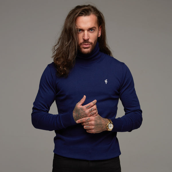 Father Sons Classic Navy Roll Neck Knitted Jumper (White Emblem) - FSH082
