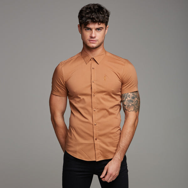 Father Sons Super Slim Stretch Classic Tan Short Sleeve - FS285