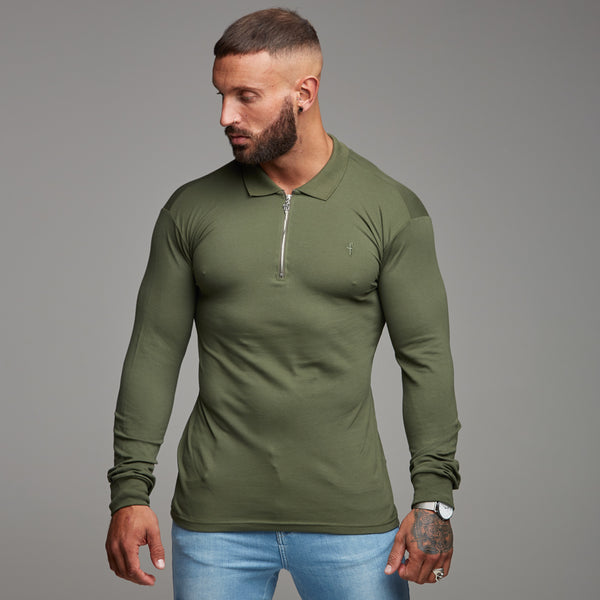 Father Sons Classic Khaki Zipped Polo Long Sleeve Shirt - FSH023