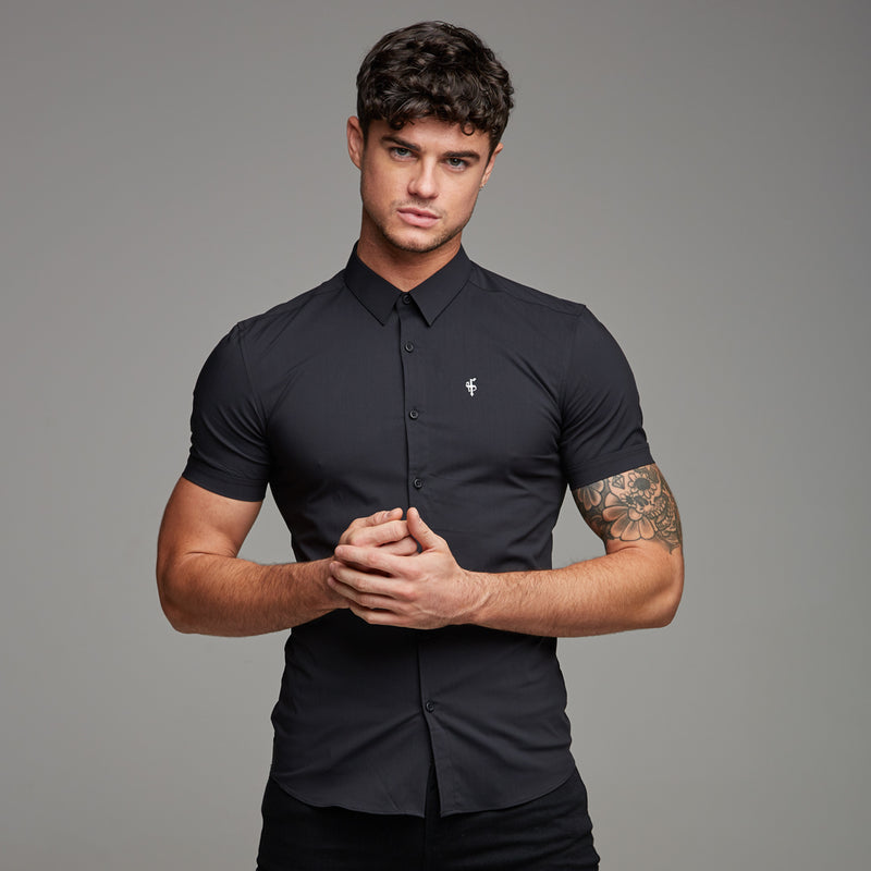 Father Sons Super Slim Stretch Classic Black Short Sleeve - FS127