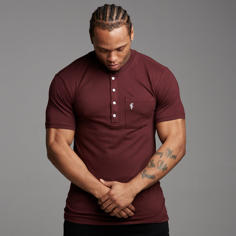 Father Sons Classic Burgundy Grandad Polo Shirt - FSH195