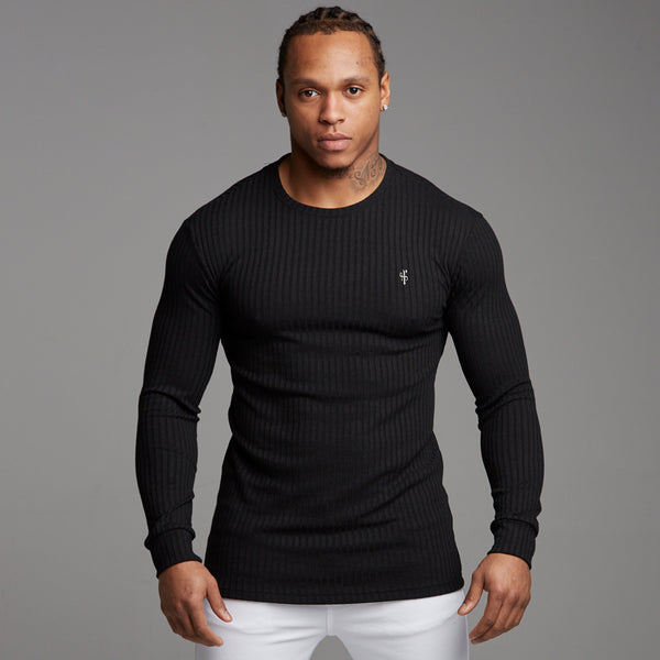 Father Sons Classic Black Ribbed Knit Super Slim Crew - FSH162 (PRE ORDER > 24TH SEPTEMBER)