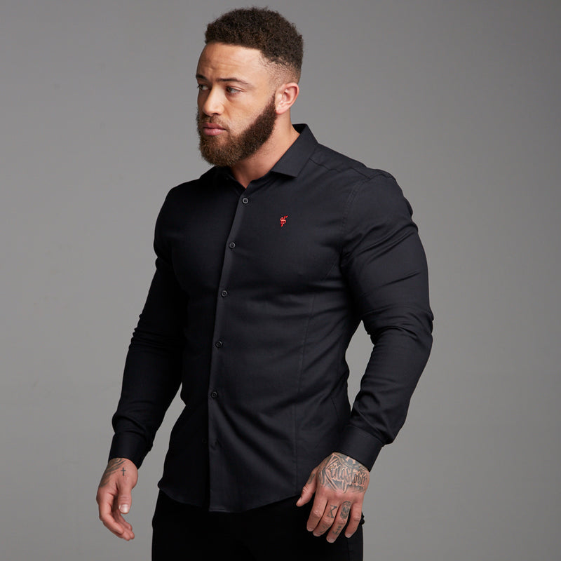 Father Sons Super Slim Stretch Classic Black Oxford Panel Shirt (Red embroidery) - FS369