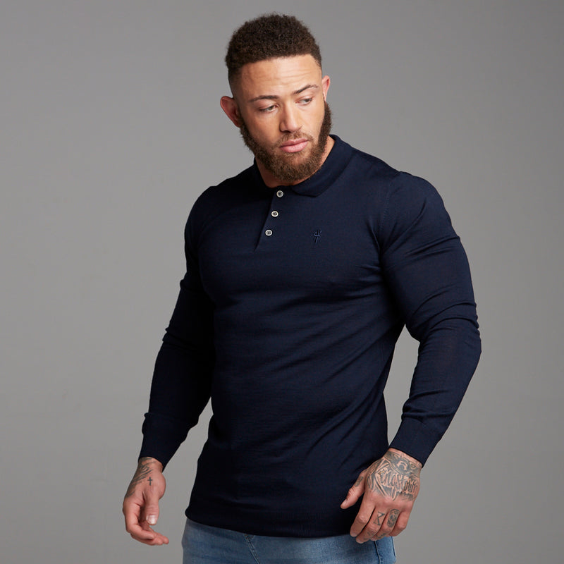 Father Sons Classic Navy Knitted Long Sleeve Polo Shirt - FSH178