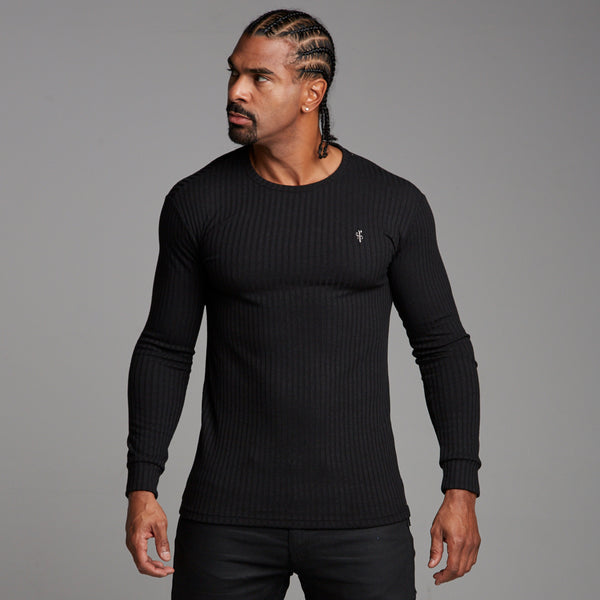 Father Sons Classic Black Ribbed Knit Super Slim Crew - FSH162