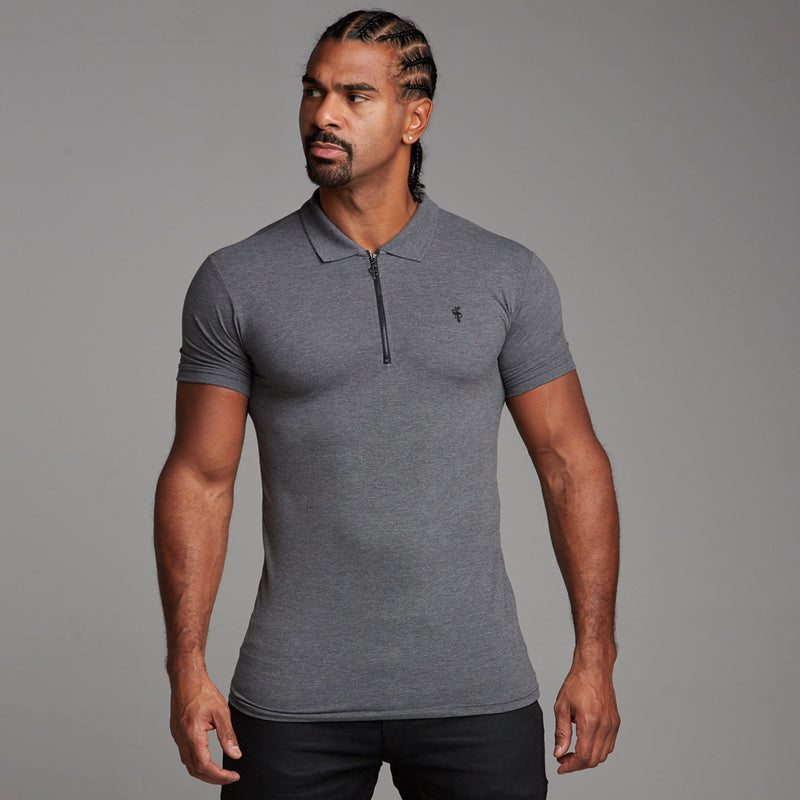 Father Sons Classic Dark Grey Zipped Polo Shirt - FSH031
