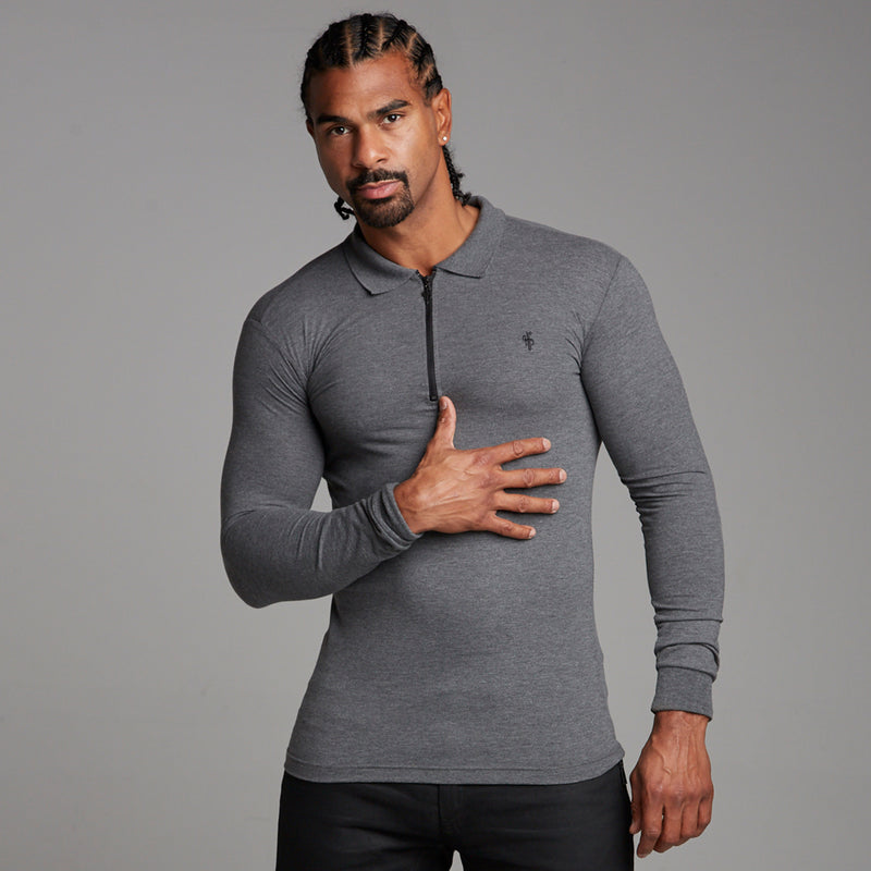 Father Sons Classic Dark Grey Zipped Polo Long Sleeve Shirt - FSH026