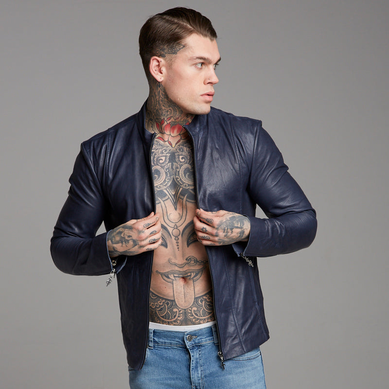 Father Sons Navy Lambs Leather Jacket - FSH217