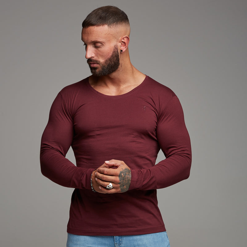 Father Sons Classic Burgundy Long Sleeve Crew   FSH067