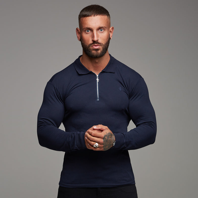 Father Sons Classic Navy Zipped Polo Long Sleeve Shirt - FSH024