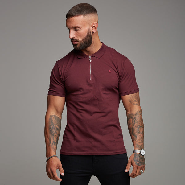 Father Sons Classic Burgundy Zipped Polo Short Sleeve Shirt - FSH027