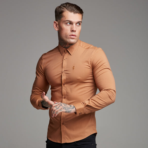 Father Sons Super Slim Stretch Classic Tan Long Sleeve - FS284