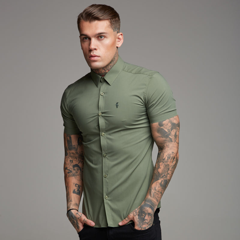 Father Sons Super Slim Stretch Classic Khaki Short Sleeve - FS238
