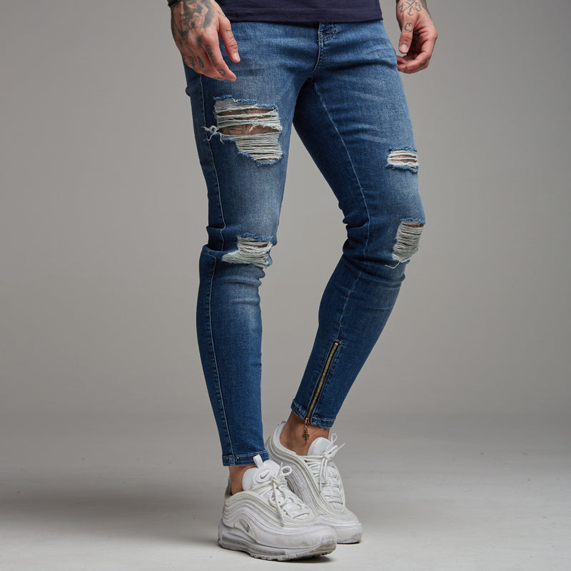 Father Sons Zipped Ankle Distressed Ripped Slim Stretch Blue Jeans - FSH180