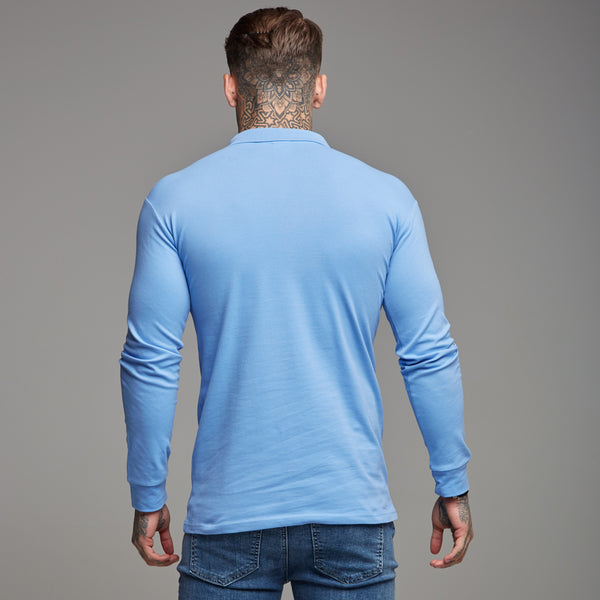 Father Sons Classic Light Blue Polo Long Sleeve Shirt - FSH161
