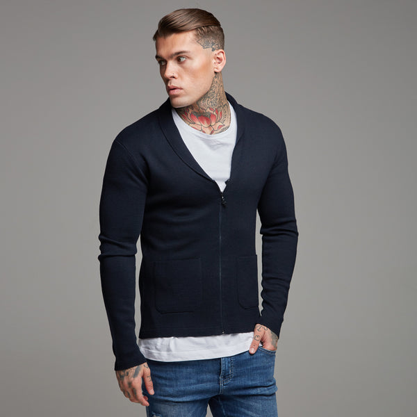 Father Sons Navy Knitted Zip Cardigan - FSH154