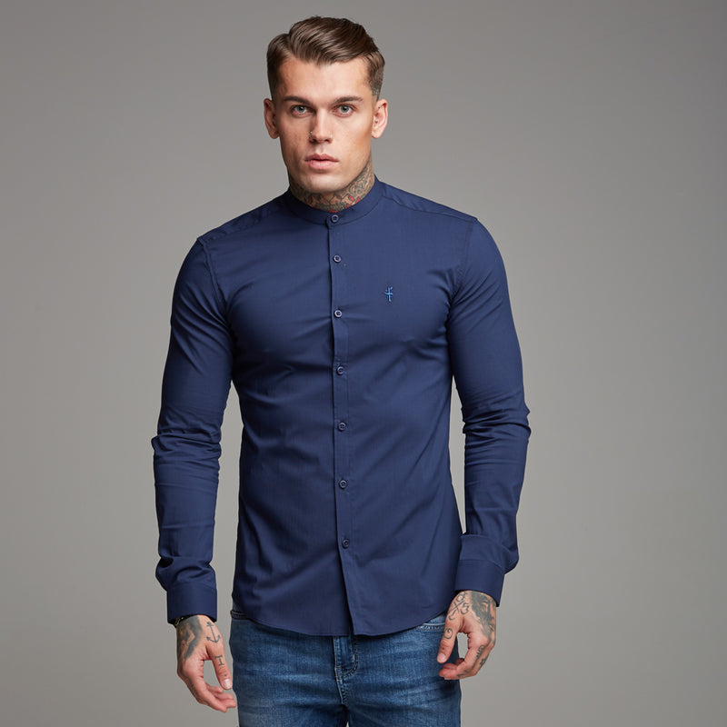 Father Sons Super Slim Stretch Classic Navy Grandad Collar - FS183