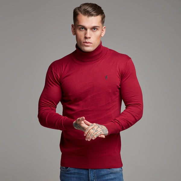 Father Sons Classic Red Roll Neck Knitted Jumper (Charcoal Emblem) - FSH086