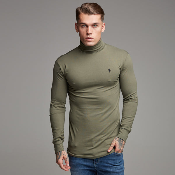 Father Sons Classic Khaki Stretch Roll Neck  - FSH165