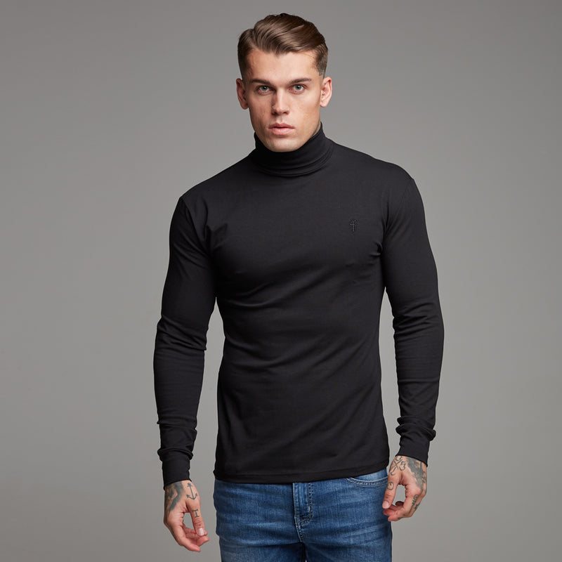 Father Sons Classic Black Stretch Roll Neck (Black Emblem) - FSH089