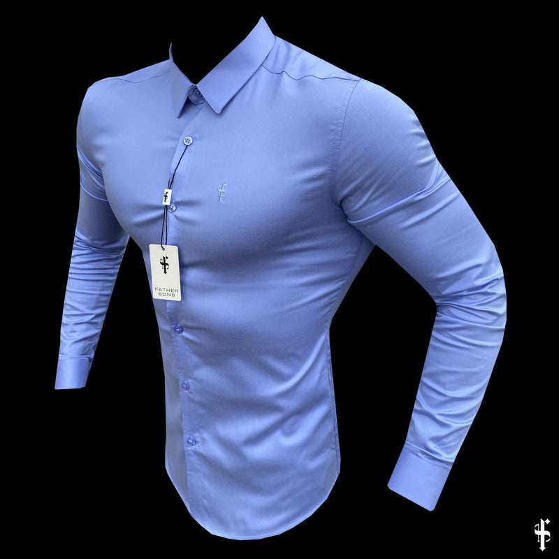 Father Sons Super Slim Luxe Ultra Stretch Cornflower Blue Long Sleeve -  FS385