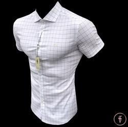 Father Sons Short Sleeve Super Slim Stretch White and Black Grid Check - FS457