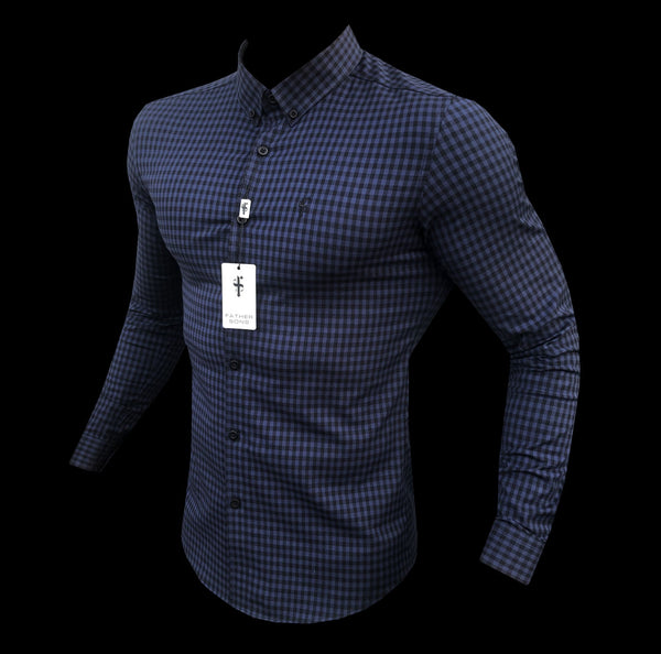 Father Sons Super Slim Ultra Stretch Blue & Black Check - FS474