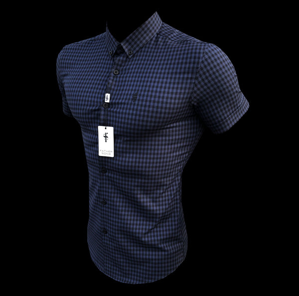 Father Sons Super Slim Ultra Stretch Blue & Black Check Short Sleeve - FS515